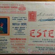 Sellos: SOBRE PUBLICITARIO ENTERO POSTAL PRIVADO 25 CENTIMOS ALFONSO XIII CON PUBLICIDAD DE VALENCIA MURCIA. Lote 52601068