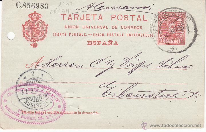 ENTERO POSTAL ALFONSO XIII 1906 DE BARCELONA-ESTAFETA DE CAMBIO- A ALEMANIA CAT. LAIZ NUM 47A (Sellos - España - Dependencias Postales - Entero Postales)