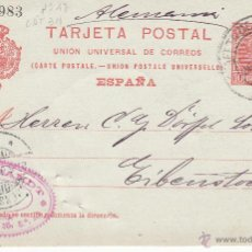 Sellos: ENTERO POSTAL ALFONSO XIII 1906 DE BARCELONA-ESTAFETA DE CAMBIO- A ALEMANIA CAT. LAIZ NUM 47A. Lote 53489467