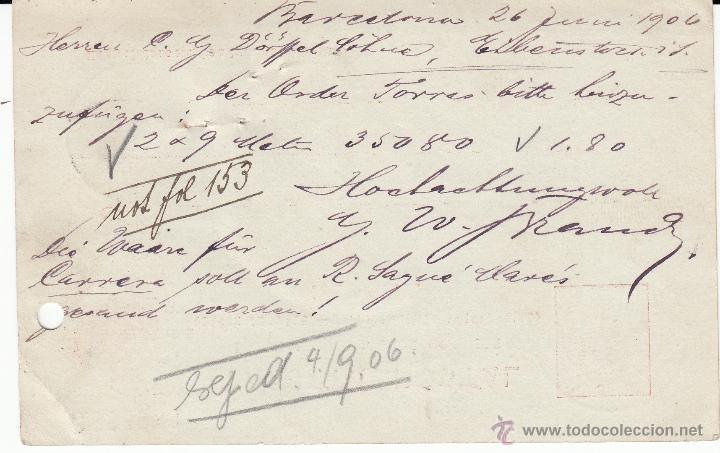 Sellos: ENTERO POSTAL ALFONSO XIII 1906 DE BARCELONA-ESTAFETA DE CAMBIO- A ALEMANIA CAT. LAIZ NUM 47A - Foto 2 - 53489467