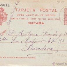 Sellos: ENTERO POSTAL ALFONSO XIII DE SANT CELONI A BARC. 1916 CAT. LAIZ NUM. 53A. Lote 53490120