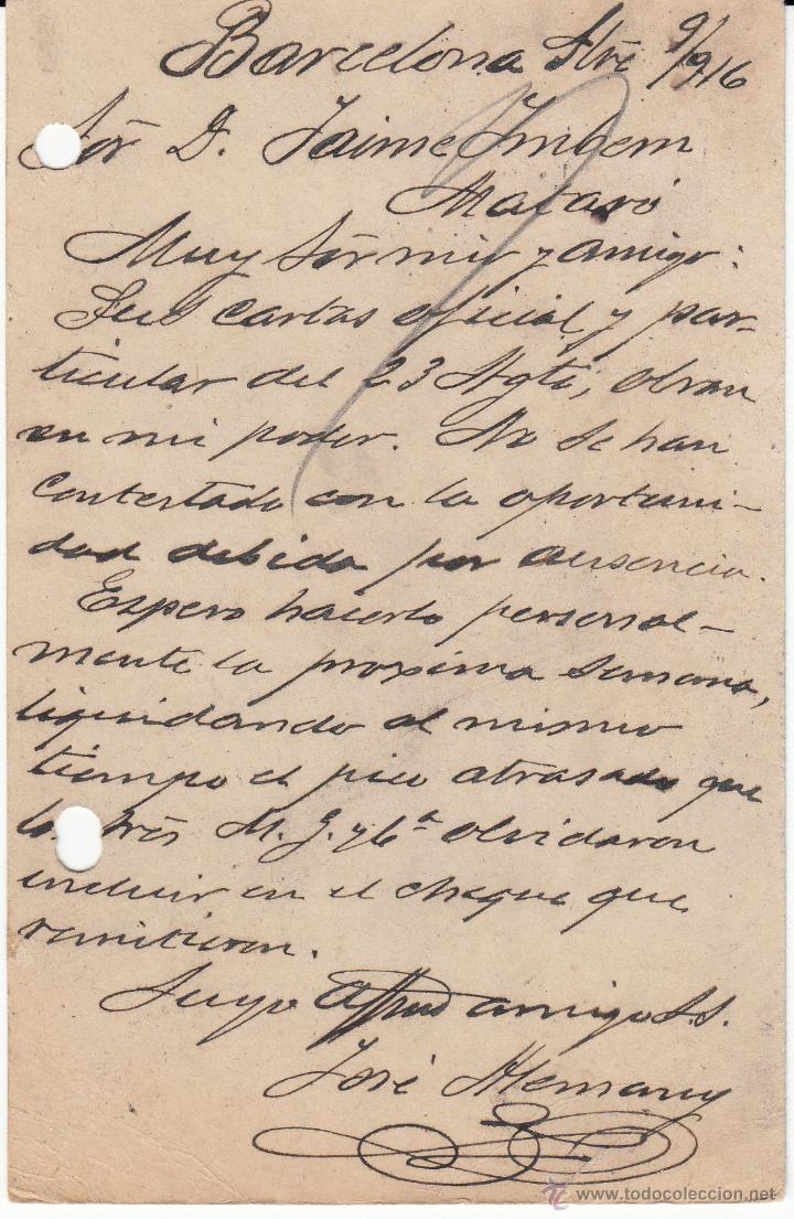 Sellos: ENTERO POSTAL ALFONSO XIII 1916BARC. A MATARÓ CAT.LAIZ NUM. 53C - Foto 2 - 53490198