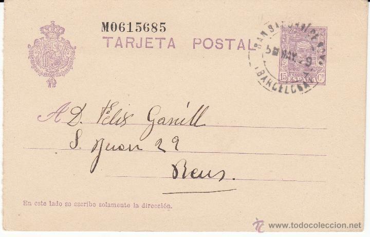 ENTERO POSTAL ALFONSO XIII DE ORDAL A REUS 1929 CAT.LAIZ NUM. 57N-MATASELLOS SANT SADURNI DE NOYA (Sellos - España - Dependencias Postales - Entero Postales)