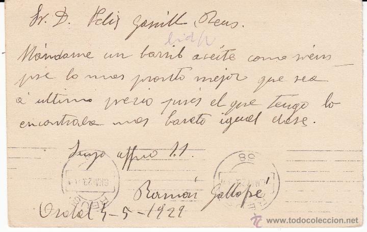 Sellos: ENTERO POSTAL ALFONSO XIII DE ORDAL A REUS 1929 CAT.LAIZ NUM. 57n-MATASELLOS SANT SADURNI DE NOYA - Foto 2 - 53503347