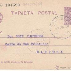 Sellos: ENTERO POSTAL ALFONSO XIII DE BALSARENY A MANRESA 1928 CAT.LAIZ NUM. 57NA. Lote 53503389