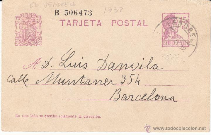 ENTERO POSTAL REPÚBLICA 1934 CAT LAIZ NUM. 69- MATASELLOS DE EL VENDRELL -TARRAGONA- (Sellos - España - Dependencias Postales - Entero Postales)
