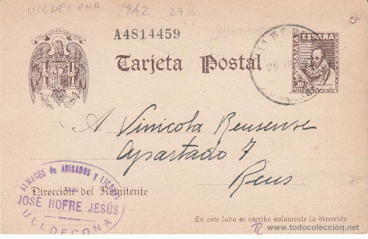 ENTERO POSTAL REPÚBLICA CAT LAIZ NUM. 86 DE JOSE NOFRE DE ULLDECONA -TARRAGONA- 1942 (Sellos - España - Dependencias Postales - Entero Postales)
