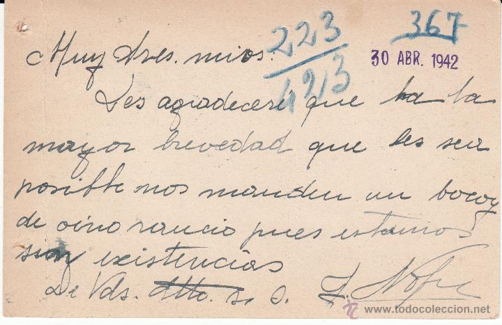 Sellos: ENTERO POSTAL REPÚBLICA CAT LAIZ NUM. 86 DE JOSE NOFRE DE ULLDECONA -TARRAGONA- 1942 - Foto 2 - 54592485