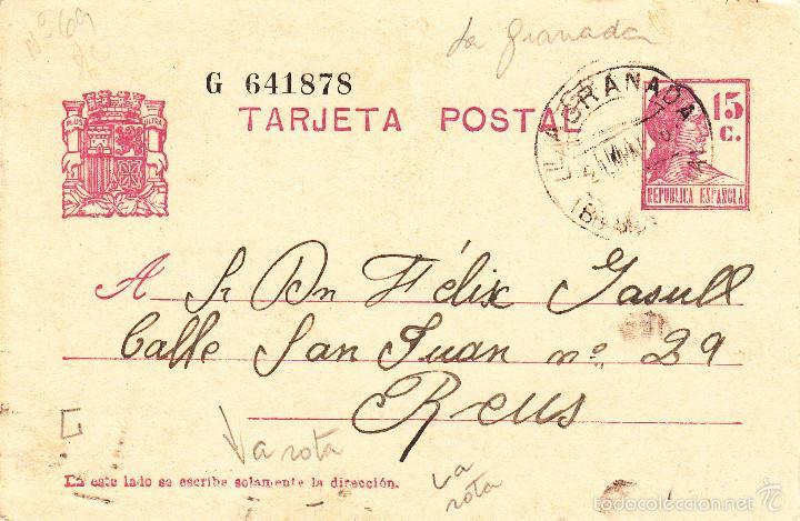 ENTERO POSTAL REPÚBLICA 1936 CAT LAIZ NUM. 69- DE ANTONIA GARRIGA DE LA GRANADA-BARCELONA- (Sellos - España - Dependencias Postales - Entero Postales)