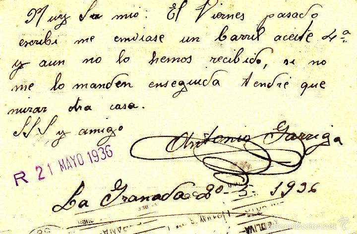 Sellos: ENTERO POSTAL REPÚBLICA 1936 CAT LAIZ NUM. 69- DE ANTONIA GARRIGA DE LA GRANADA-BARCELONA- - Foto 2 - 57111126