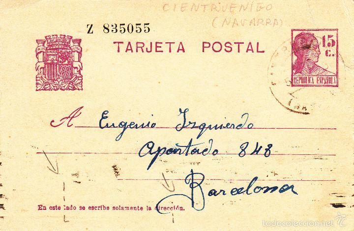 ENTERO POSTAL REPÚBLICA 1935 CAT LAIZ NUM. 69- DE J. MARTINEZ DE CINTRUENIGO-NAVARRA- (Sellos - España - Dependencias Postales - Entero Postales)