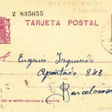 Sellos: ENTERO POSTAL REPÚBLICA 1935 CAT LAIZ NUM. 69- DE J. MARTINEZ DE CINTRUENIGO-NAVARRA-. Lote 57111193