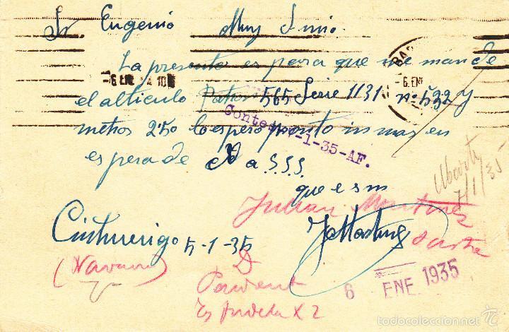 Sellos: ENTERO POSTAL REPÚBLICA 1935 CAT LAIZ NUM. 69- DE J. MARTINEZ DE CINTRUENIGO-NAVARRA- - Foto 2 - 57111193