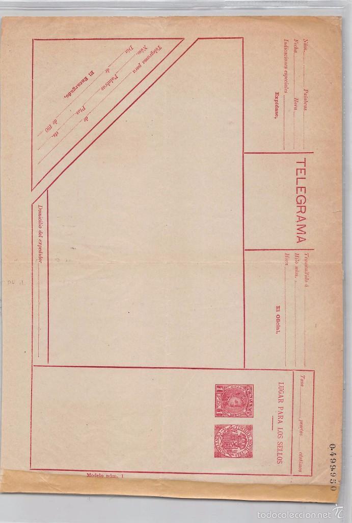 ESPAÑA.- ENTERO POSTAL TELEGRAMA-VALOR 1 PESETA.PLIEGUES ORIGINALES DE LA VENTA. (Sellos - España - Dependencias Postales - Entero Postales)