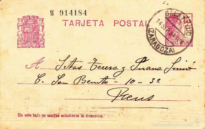ENTERO POSTAL REPÚBLICA 1936 CAT LAIZ NUM. 69- DE MARIA ROSA CHACÓN DE CALATAYUD --1934--- (Sellos - España - Dependencias Postales - Entero Postales)