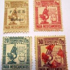 Sellos: 4 SELLOS ESPECIAL MOVIL PARA MEDICAMENTOS 1 SOBRECARGADO + 1 MATASELLADO + 2 NUEVOS. Lote 58235606