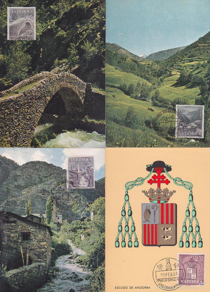 ANDORRA ESPAÑOLA TIPOS DIVERSOS 1963-1964 (EDIFIL 60/67) EN OCHO TARJETAS MAXIMAS PRIMER DIA. MPM. (Sellos - España - Dependencias Postales - Tarjetas Máximas)