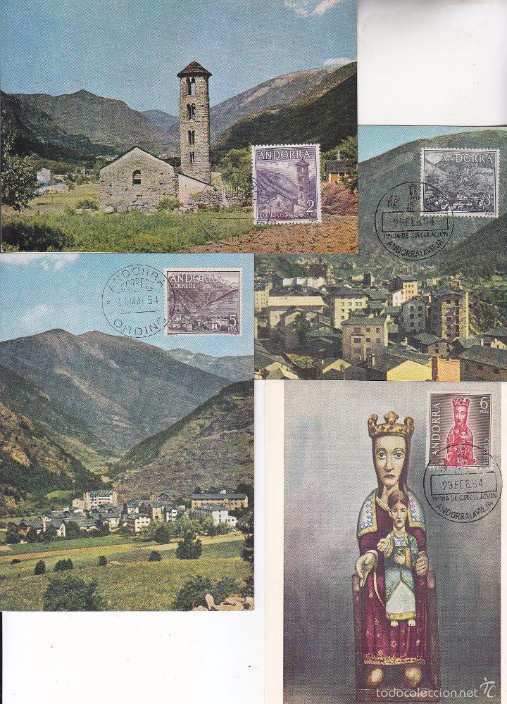 Sellos: ANDORRA ESPAÑOLA TIPOS DIVERSOS 1963-1964 (EDIFIL 60/67) EN OCHO TARJETAS MAXIMAS. RARAS ASI. MPM. - Foto 3 - 34740803