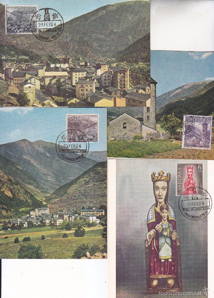 Sellos: ANDORRA ESPAÑOLA TIPOS DIVERSOS 1963-1964 (EDIFIL 60/67) EN OCHO TARJETAS MAXIMAS PRIMER DIA. MPM. - Foto 2 - 34788985
