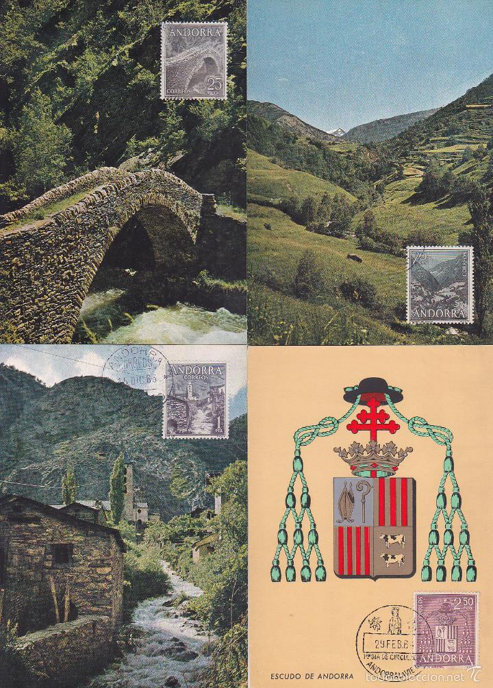 ANDORRA ESPAÑOLA TIPOS DIVERSOS 1963-1964 (EDIFIL 60/67) EN OCHO TARJETAS MAXIMAS. RARAS ASI. MPM. (Sellos - España - Dependencias Postales - Tarjetas Máximas)