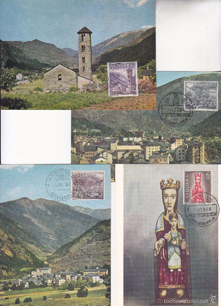 Sellos: ANDORRA ESPAÑOLA TIPOS DIVERSOS 1963-1964 (EDIFIL 60/67) EN OCHO TARJETAS MAXIMAS. RARAS ASI. MPM. - Foto 3 - 34928193