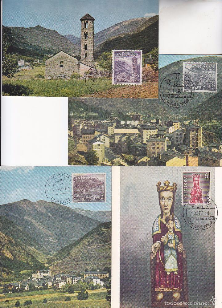 Sellos: ANDORRA ESPAÑOLA TIPOS DIVERSOS 1963-1964 (EDIFIL 60/67) EN OCHO TARJETAS MAXIMAS. RARAS ASI. MPM. - Foto 3 - 34939004