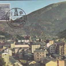 Sellos: ANDORRA ESPAÑOLA TIPOS DIVERSOS 1963-1964 (EDIFIL 65) EN BONITA TARJETA MAXIMA PRIMER DIA. MPM.. Lote 34961370