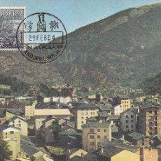 Sellos: ANDORRA ESPAÑOLA TIPOS DIVERSOS 1963-1964 (EDIFIL 65) EN BONITA TARJETA MAXIMA PRIMER DIA. MPM. Lote 61074507