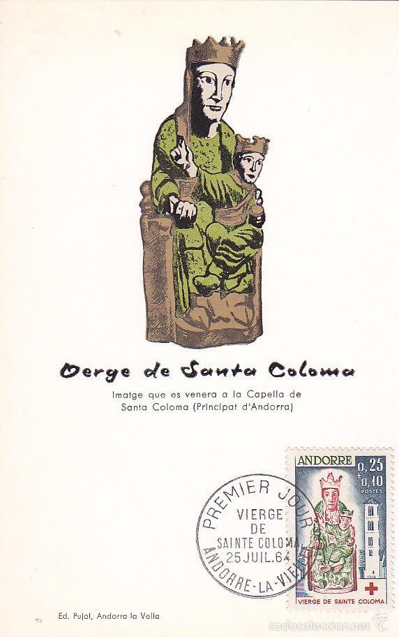 ANDORRA FRANCESA A BENEFICIO DE LA CRUZ ROJA 1964 (EDIFIL 192) RARA TM PD VIRGEN DE LOS REMEDIOS MPM (Sellos - España - Dependencias Postales - Tarjetas Máximas)