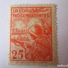 Sellos: SELLOS BENEFICENCIA PRO COMBATIENTES LA CORUÑA MUY RARO 25 CENTIMOS NUEVO. Lote 63414292