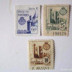 Sellos: 3 SELLOS BENEFICENCIA DIPUTACION FORAL DE NAVARRA 10,25 Y 60 CENTIMOS NUEVOS. Lote 63514672