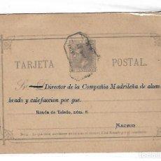 Sellos: ENTERO POSTAL. MADRID. 1887. COMPAÑIA MADRILEÑA DE ALUMBRADO Y CALEFACCION POR GAS. VER DORSO. Lote 75950659