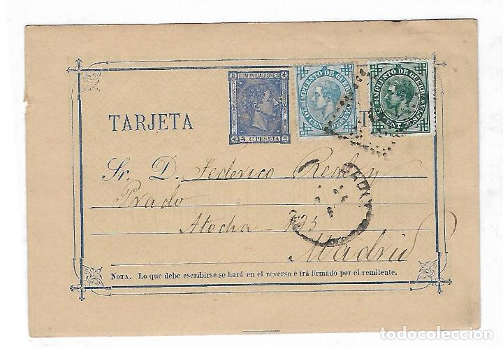 ENTERO POSTAL. 1876. CADIZ. LIBRERIA DE LA REVISTA MEDICA. VER DORSO (Sellos - España - Dependencias Postales - Entero Postales)