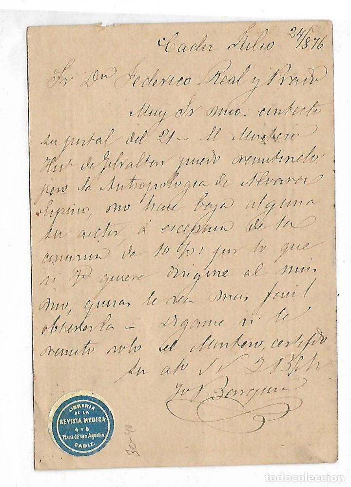 Sellos: ENTERO POSTAL. 1876. CADIZ. LIBRERIA DE LA REVISTA MEDICA. VER DORSO - Foto 2 - 75956647