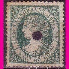 Sellos: TELÉGRAFOS 1866 ISABEL II, EDIFIL Nº 15 (O). Lote 78064909