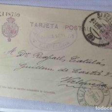 Sellos: TARJETA POSTAL BARCELONA 13ENE1922. ALFONSO XIII 15CTS MEDALLÓN. Lote 83668684
