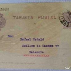 Sellos: TARJETA POSTAL BILBAO NOV1925. ALFONSO XIII 15CTS MEDALLÓN. Lote 83669076
