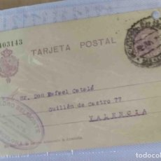 Sellos: TARJETA POSTAL VALENCIA 14NOV1925. ALFONSO XIII 15CTS. Lote 83669232