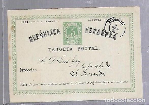 ENTERO POSTAL. 1875. CIRCULADO DE MADRID A SAN FERNANDO, CADIZ (Sellos - España - Dependencias Postales - Entero Postales)