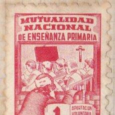Sellos: SELLO FISCAL - MUTUALIDAD NACIONAL DE ENSEÑANZA PRIMARIA 1 PTA. Lote 91945755