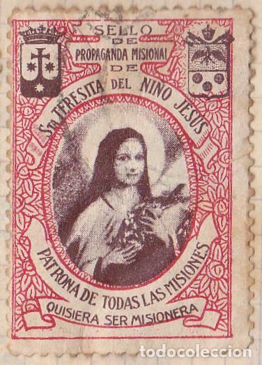 SELLO DE PROPAGANDA MISIONAL - STA TERESITA DEL NIÑO JESUS PATRONA DE TODAS LAS MISIONES (Sellos - España - Dependencias Postales - Beneficencia)