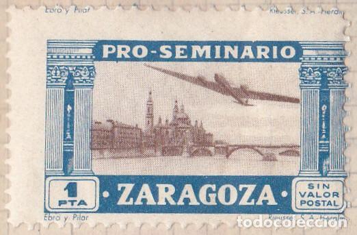 PRO SEMINARIO ZARAGOZA - EBRO Y PILAR - 1 PTA (Sellos - España - Dependencias Postales - Beneficencia)