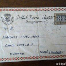 Sellos: AEROGRAMA DE INDIA PORTUGUESA A MONTIJO, BADAJOZ, ESPAÑA. CAPITÁN CAZADORES MOZAMBIQUE.. Lote 99106531