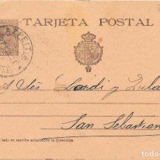 Sellos: ENTERO POSTAL 36. PELON. DE AZPEITIA A SAN SEBASTIAN. 27-ABR-1901. AGUJEROS DE TALADRO. CAT 35 € . Lote 99243011