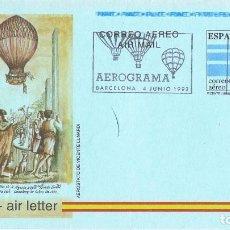 Sellos: 0410. AEROGRAMA F.D.C. BARCELONA 1992. GLOBUS VICENTE LUNARDI. Lote 103135679