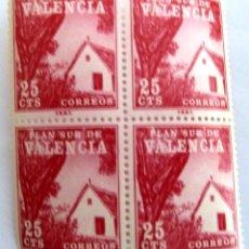 Sellos: SELLOS PLAN SUR DE VALENCIA 1964. NUEVOS. BLOQUE DE 4. EDIFIL 3. BARRACA VALENCIANA.. Lote 106639103
