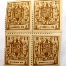 Sellos: TIMBRE MOVIL 50 CTS. NUEVOS. BLOQUE DE CUATRO.. Lote 107444131