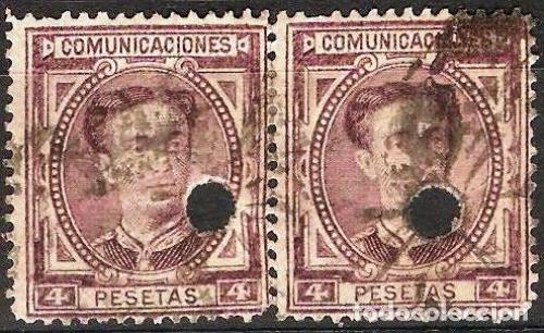 EDIFIL Nº 181T- PAREJA TELEGRAFOS 4P..VIOLETA CLARO ( 28,00 € ) (Sellos - España - Dependencias Postales - Telégrafos)