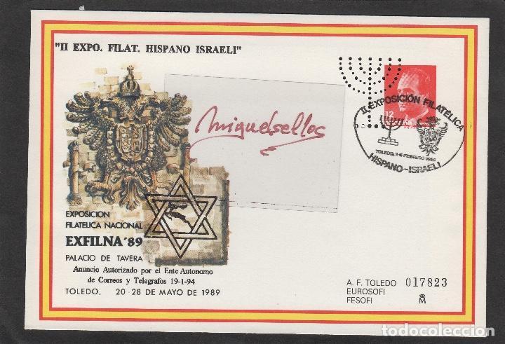 SOBRE ENTERO Nº13 EXFILNA 89 -PERFORADO -SOBREIMPRESIÓN II EXPOSICIÓN HISPANO ISRAELI , TOLEDO 1994 (Sellos - España - Dependencias Postales - Entero Postales)