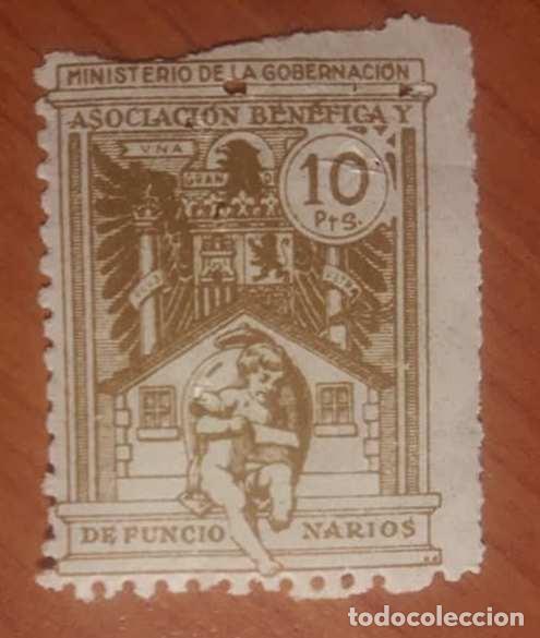 MINISTERIO DE GOBERNACIÓN, ASOCIACION BENEFICA DE FUNCIONARIOS. 10 PTS (Sellos - España - Dependencias Postales - Beneficencia)
